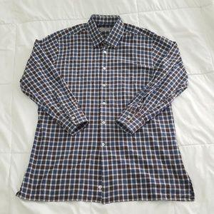 Canali Casual Shirt Mens XL Blue Brown Plaid